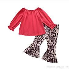 Childrens Clothing Designer 2019 Kids Designer Clothes Girls Outfits Children Tops Leopard Flare Pants 2019 Spring Autumn Fashion Baby Clothing Sets C1735 From Candybaby8888