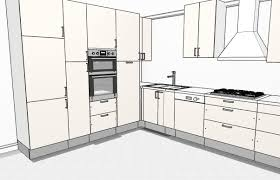 L shaped kitchen with storage wall 3D ...