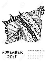 2017 年 11 月日カレンダーしますライン アートの黒と白のイラストseasell抗ストレスの着色のページを印刷