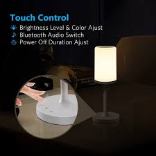 marrado bluetooth speakers bedside lamp night light smart touch control table lamp for bedroom living room portable rechargeable led desk lamp