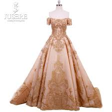 Elegant Long Gown Design 2018 Us 1485 0 Train Zipper Back Middle East Elegant Box Pleat Appliques Bead Side Sleeves Golden Evening Haute Couture Dress 2018 In Prom Dresses From