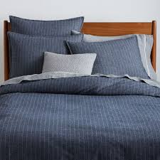 blue and grey duvet covers awesome flannel pinstripe cover midnight west elm throughout 17