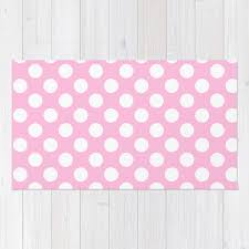 white polkadots dots polkadot circles on pink rug