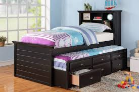 Outstanding Twin Bed With Trundle In Black Finish Additional Trundle Bed  With Built In Storage Multi Storage Unit In Wood Black Finish High Quality  Pine ...