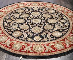 rugsville antique vintage persian fl black red wool round rug 213213