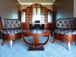 art deco furniture with artistic wooden round table combined with attractive accent chairs in artistic art deco furniture design