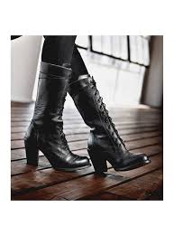 ariana victorian inspired mid calf leather boots in black rustic by oak tree farms