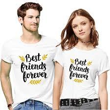 Hangout Hub Couple Tshirts Best <b>Friend</b> Forever <b>Printed</b> Matching ...