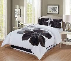 4 pc grey white black hibiscus fl