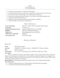 Resume Format For 1 Year Experience Dot Net Developer Resume
