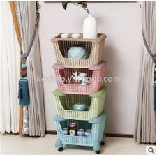 plastic imitation rattan woven multi layer storage rack kitchen vegetable fruit and vegetable stand with