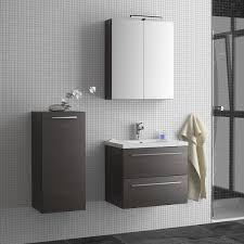 seville two drawer wall hung vanity unit basin grey oak 600