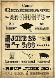Senior Party Invitations Invitation For A Combined Graduation And 25th Birthday Party