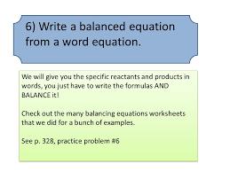6 write a balanced equation from a word equation