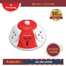 Ổ cắm Điện Quang ĐQ ESK 2WR.UK986 (Kiểu UFO 6 lỗ 3 chấu dây 2 mét màu trắng  đỏ) | Công ty Cổ phần bóng đèn Điện Quang