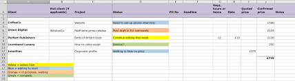 freelance excel a simple project spreadsheet for freelancers abc copywriting