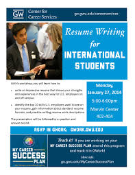 Resume Writing For International Students Next Stop Gw