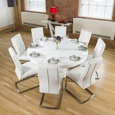 large round white gloss dining table lazy susan 8 white chairs 4110