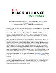 Africom Org Chart U S Out Of Africa Shut Down Africom The Black Alliance