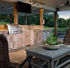 Patio Track Lighting New Orleans Rustic Outdoor Kitchen Deck Traditional With