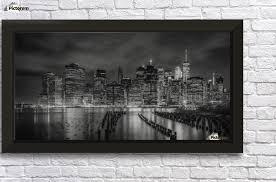 new york city monochrome night impressions panoramic wall decor frame