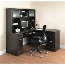 L office desk Cool New Lshaped Office Desk With Hutch Computer Executive Corner Table Furniture Bk Ebay Office Desk With Hutch Ebay
