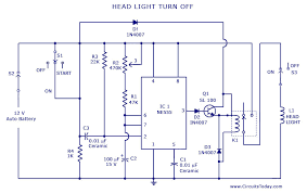automatic car vehicle head lights turn off circuit headlight wiring connectors at Headlight Circuit Diagram