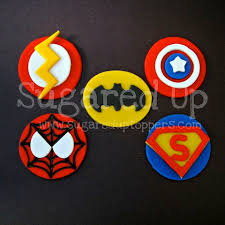 Wwwsugareduptopperscom Superhero Fondant Cupcake Toppers By