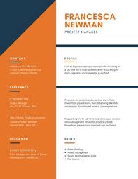 Orange and White Corporate Resume