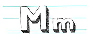 how to draw 3d letters m uppercase m and lowercase m in 90 seconds you