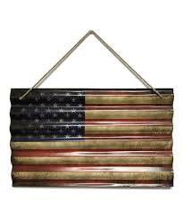 corrugated metal u s decoupaged flag on rope wall décor