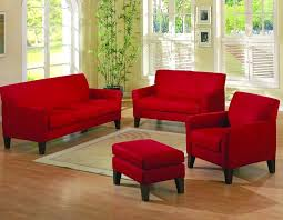 delighful red and brown living room furniture with red leather sofa and cream rug on wooden