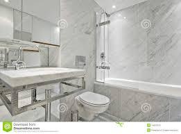 Modern Marble Bathroom Modern En Suite Marble Bathroom In White Royalty Free Stock Images