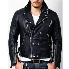men s padded design black leather moto jacket