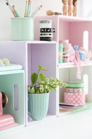 diy pastel shelves from crates
