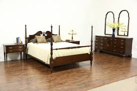 ethan allen signed vintage cherry 6 pc bedroom set queen size poster bed