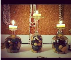 homemade wine glass candle holders