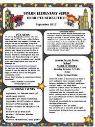Pta September Newsletter Taylor Elementary