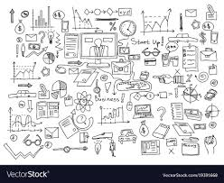 Hand Draw Doodle Elements Business Finance Chart