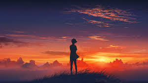 Sunset View Anime HD wallpaper