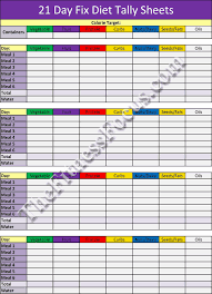 21 Day Fix Meal Chart 21 Day Fix Workout Schedule Portion Control Diet Sheets