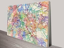 paris france street map michael tompsett wall art canvas