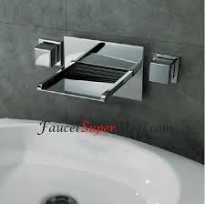 modern design led color changing wall mount waterfall two handles stylish chrome finish color changing led waterfall wall mount bathroom sink faucet