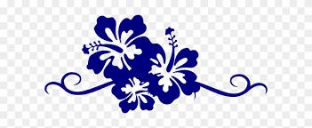 hibiscus flower border clipart blue