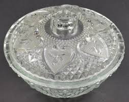 kim clear glass heart fl pattern candy dish with lid 5 125 wide
