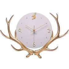 Large Luxury Wall Clock Deer <b>Metal Creative Big</b> Gold Wall Clocks ...