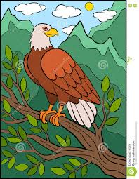 Small Picture Cartoon Wild Birds For Kids Eagle Cute Eagle Sits Smiles Stock