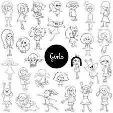 Personaggi Dei Cartoni Animati Ragazze Dei Bambini Impostare Il