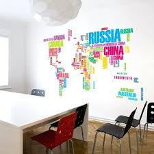 large world map wall decal large world map wall stickers original creative letters map wall art