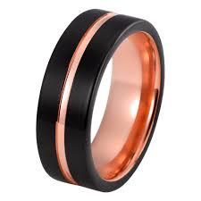 mens wedding bands tungsten carbide. wedding ring - black rose gold band brushed tungsten carbide 8mm 18k mens bands
